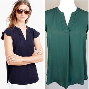 J. Crew Flutter Sleeve Top in Green 12